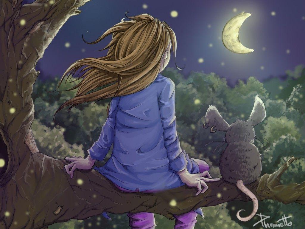 la bambina e la luna