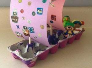 pirati ecologisti: scatole delle uova e creatività