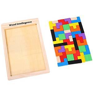 tetris con pezzi di legno colorati per bambini