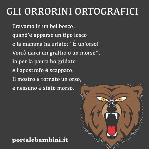 filastrocche ortografia un'orso