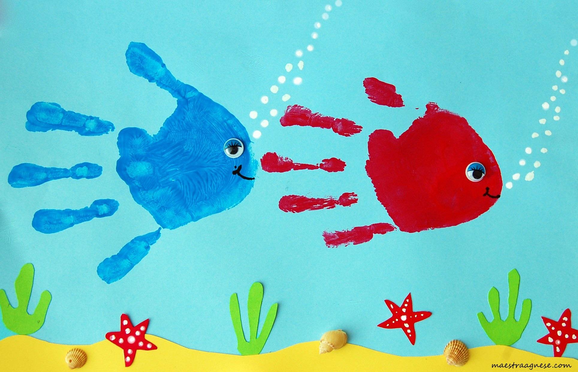 Digitopittura idee creative da provare con i pi piccoli for Pesciolini da colorare per bambini