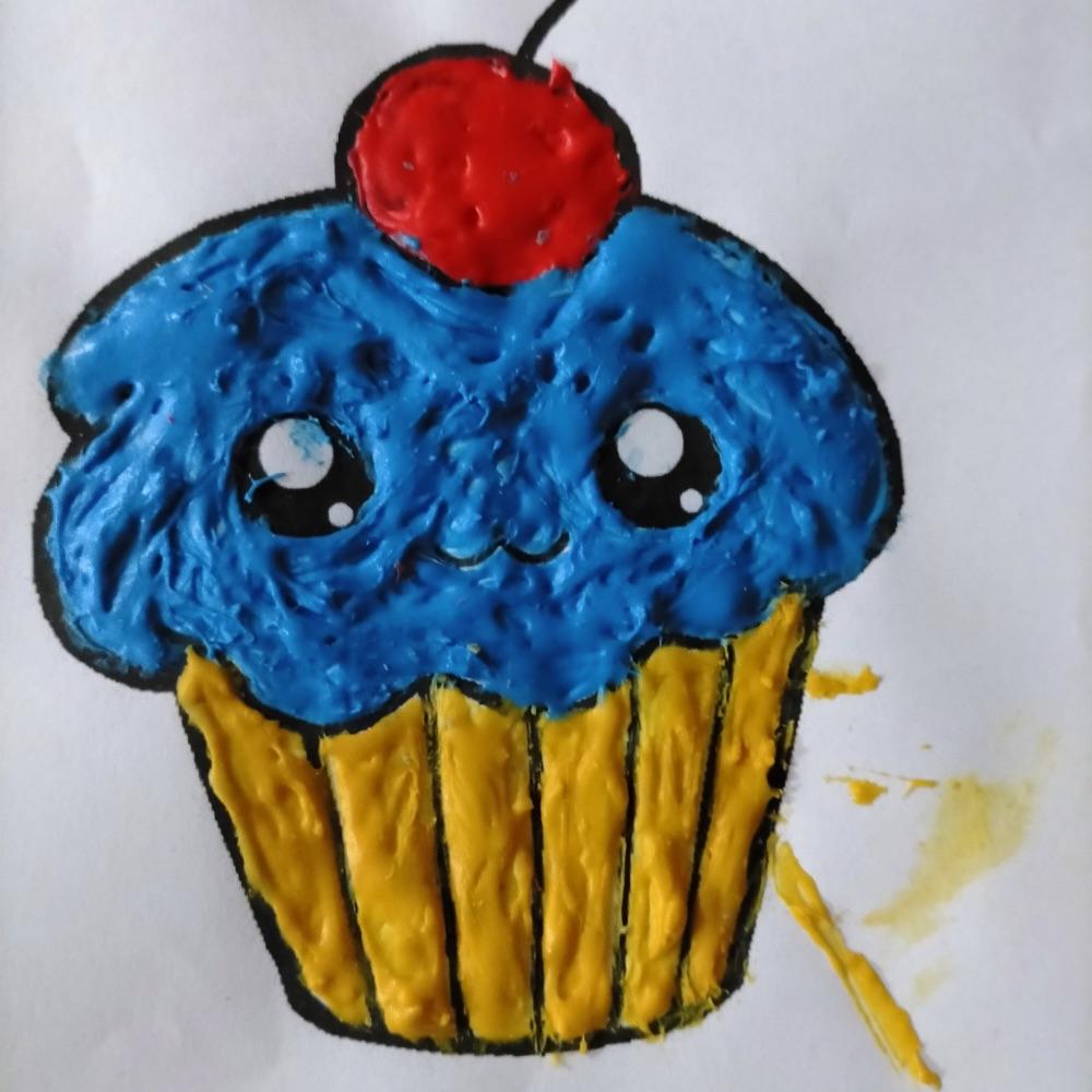 esempio di puffy paint muffin