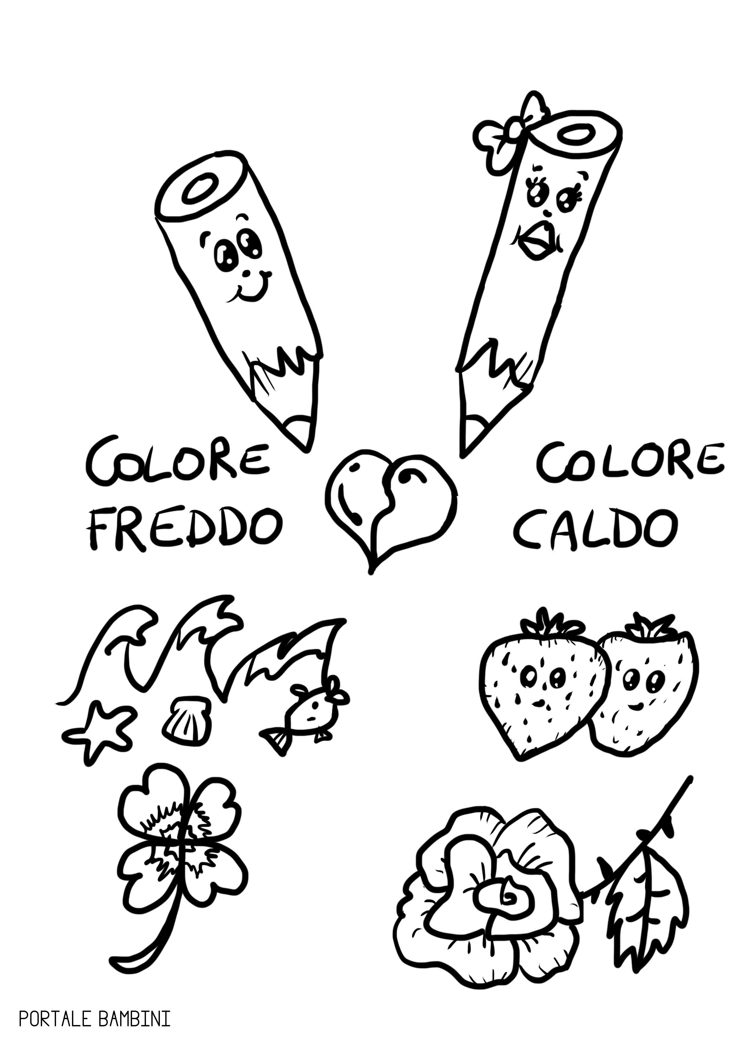 Colori caldi e freddi scopri quali sono e colora le for Disegni a colori caldi