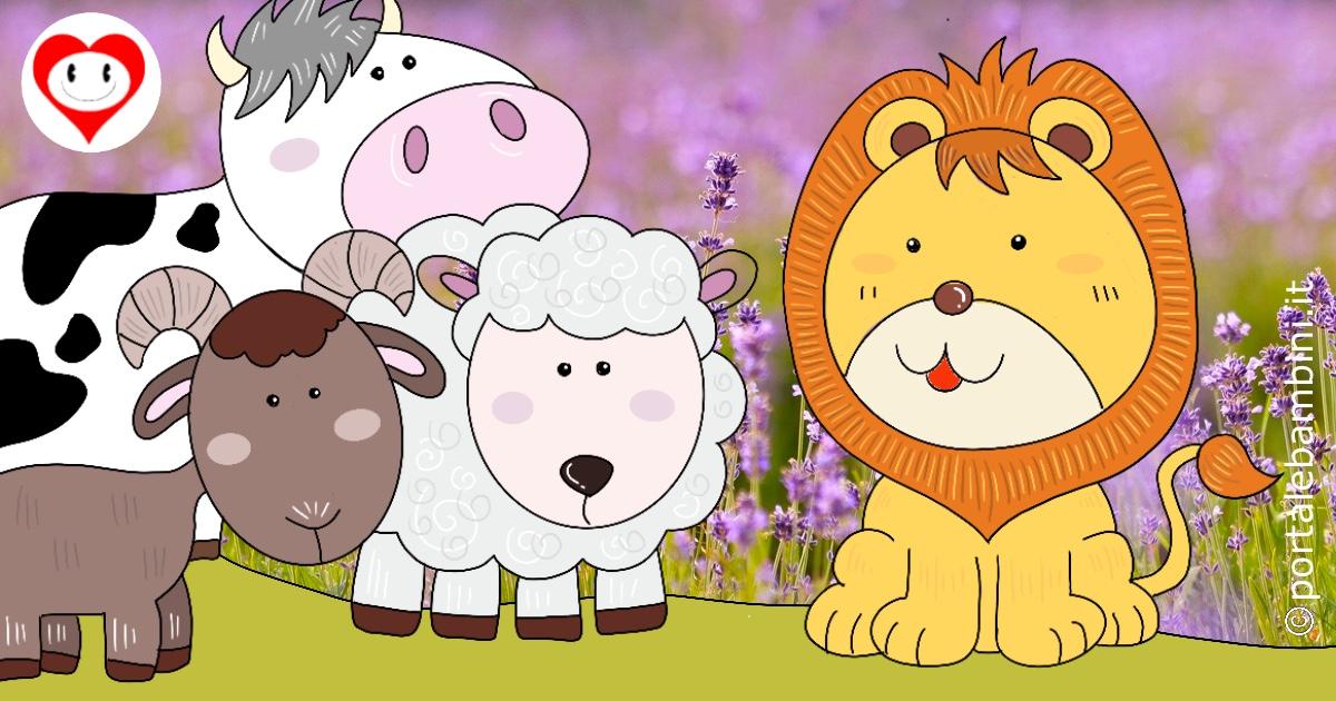la mucca la capra e la pecora in società con il leone