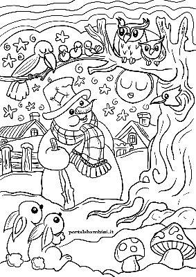 Disegni Da Colorare Invernali.Disegni E Paesaggi Invernali Portalebambini It