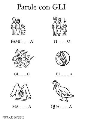 parole con gli schede didattica scuola primaria bambini 2