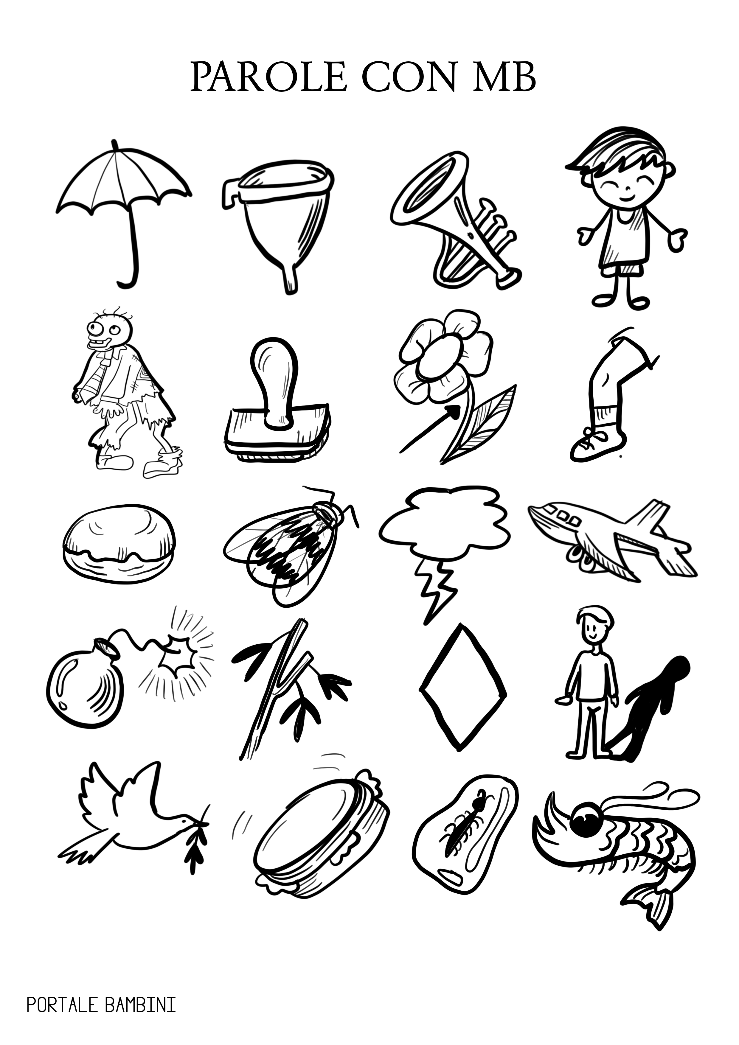 Parole con mb elenco e schede didattiche portale bambini for Parole capricciose esercizi