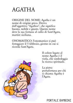 agatha origine significato nome onomastico