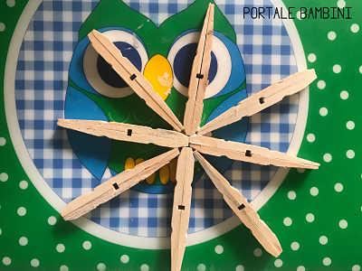 lavoretti di natale con mollette di legno stella di natale