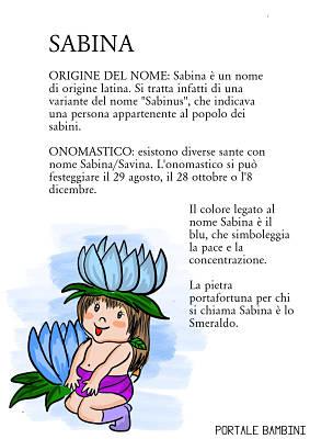 sabina origine significato nome onomastico