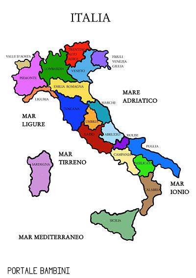 Regioni Capoluoghi Cartina Politica Italia.Cartina Italia Politica Da Scaricare E Da Stampare Portale Bambini