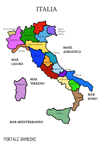 Cartina Italia Per Bambini Da Stampare.Cartina Italia Politica Da Scaricare E Da Stampare Portale Bambini