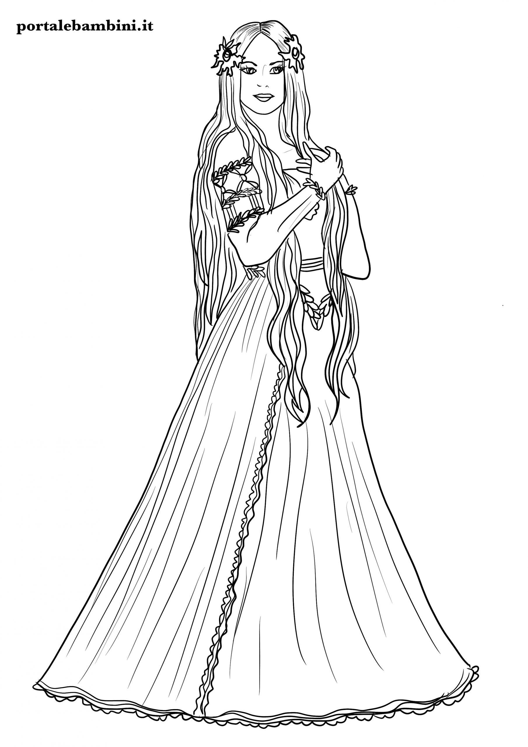 disegni di principesse da stampare e colorare 1
