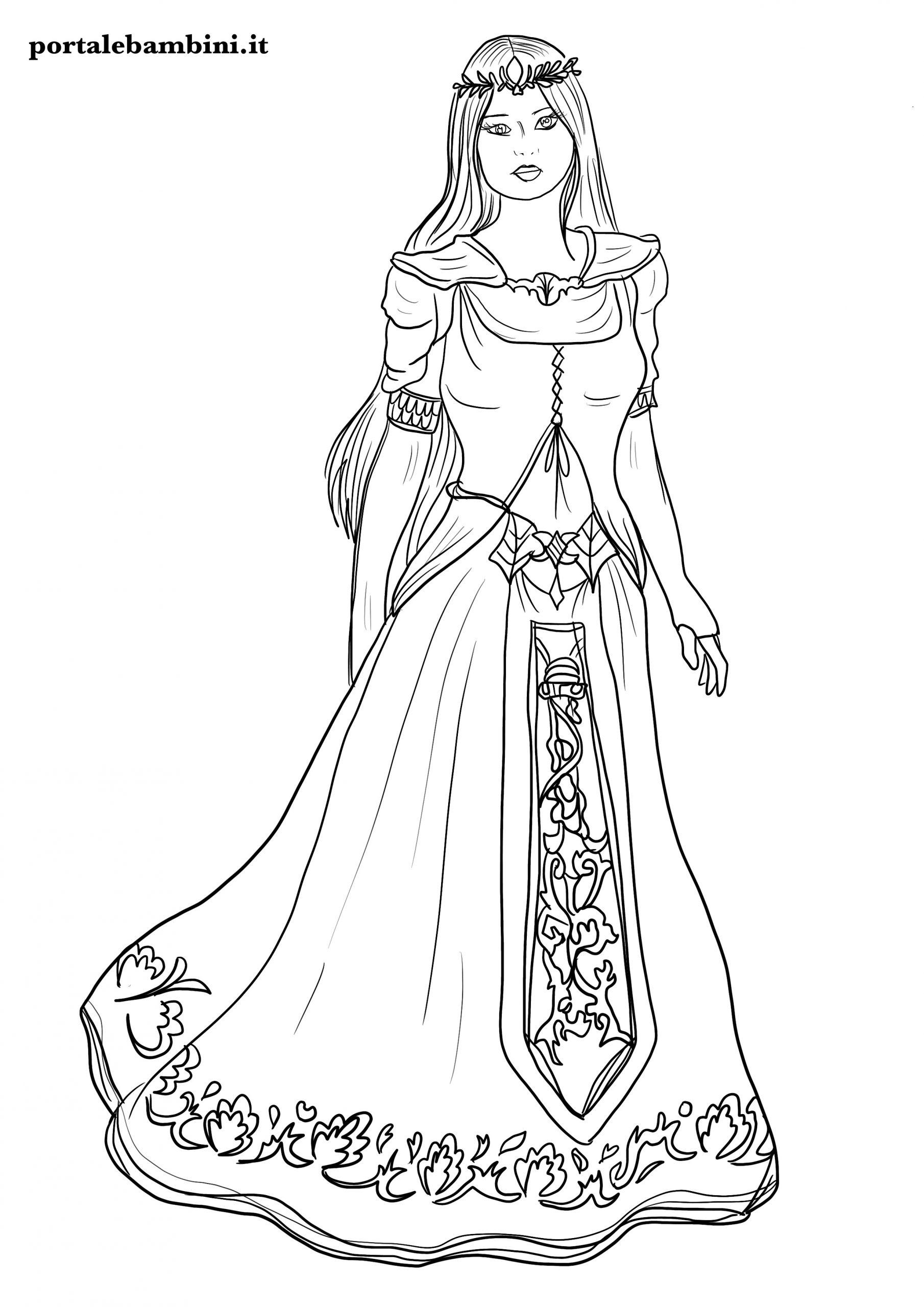 disegni di principesse da stampare e colorare 2