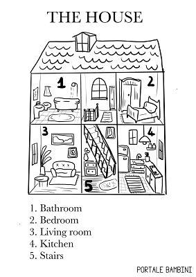stanze della casa in inglese schede didattiche per bambini della scuola primaria