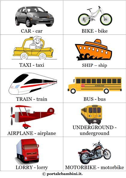 mezzi di trasporto in inglese flashcard schede didattiche scuola primaria 1