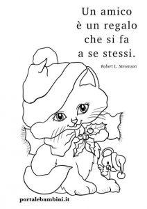 disegni di natale gattino