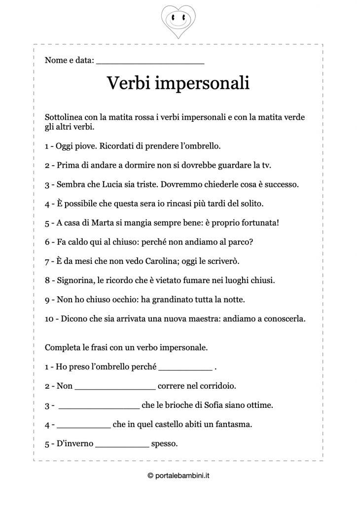 scheda didattica di esercizi sui verbi impersonali