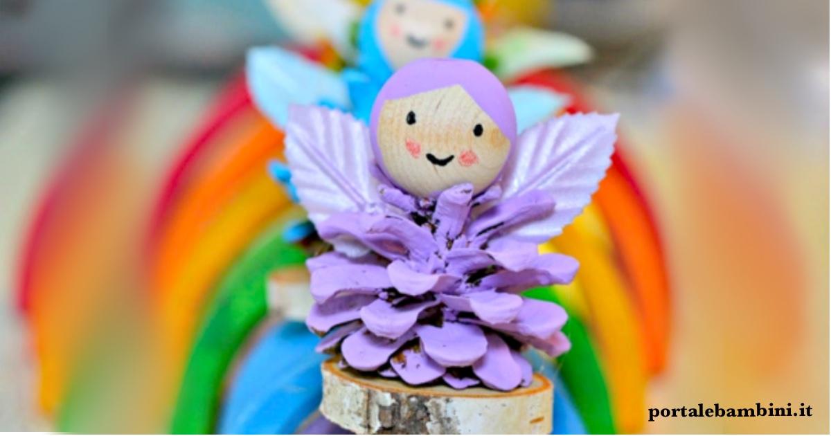 Fatine dell'arcobaleno con le pigne