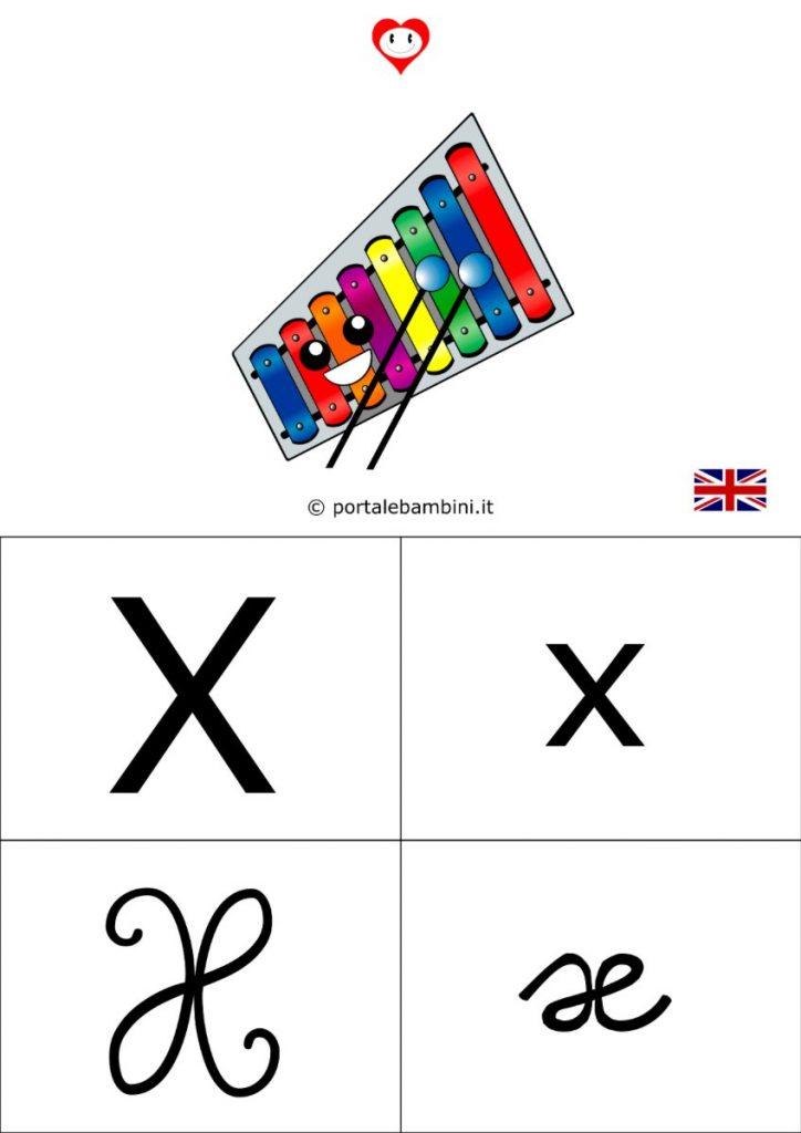 alfabetiere inglese da stampare x