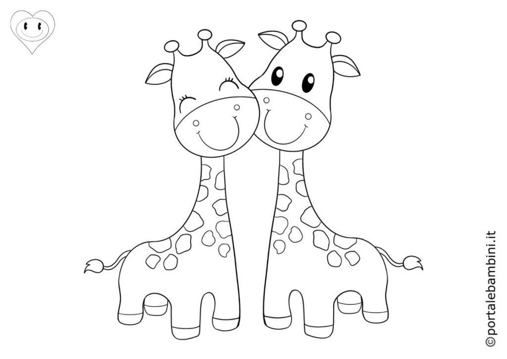 animali della savana da colorare giraffe