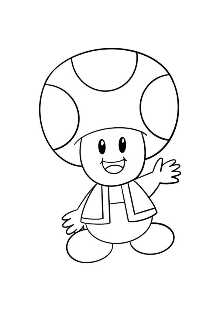 super mario da colorare toad