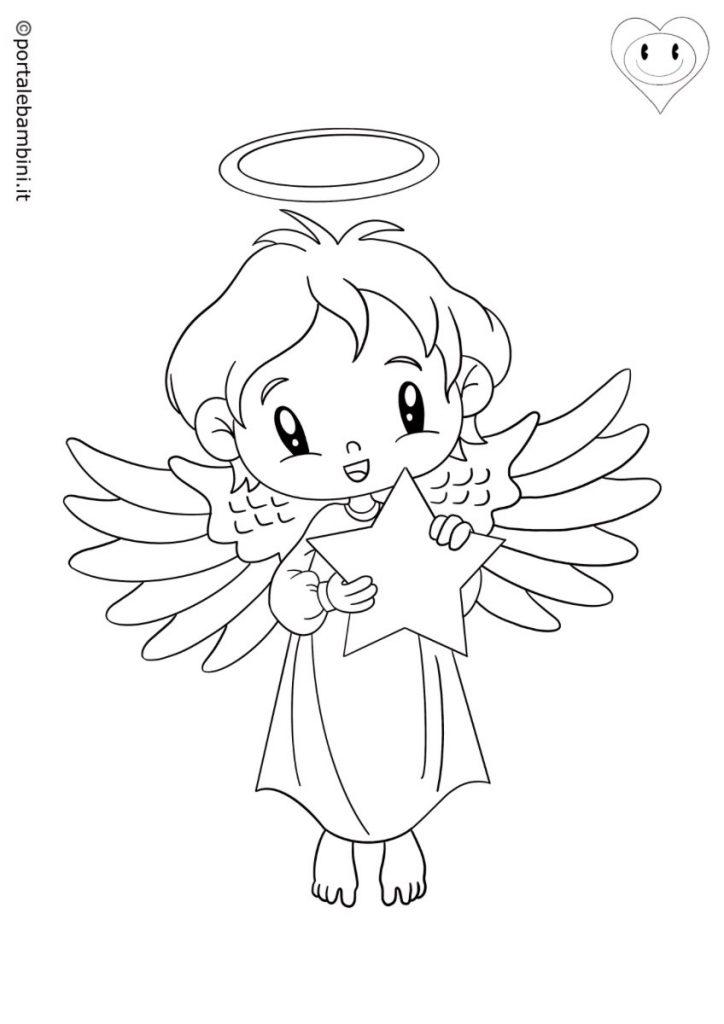 disegni di natale da colorare angeli