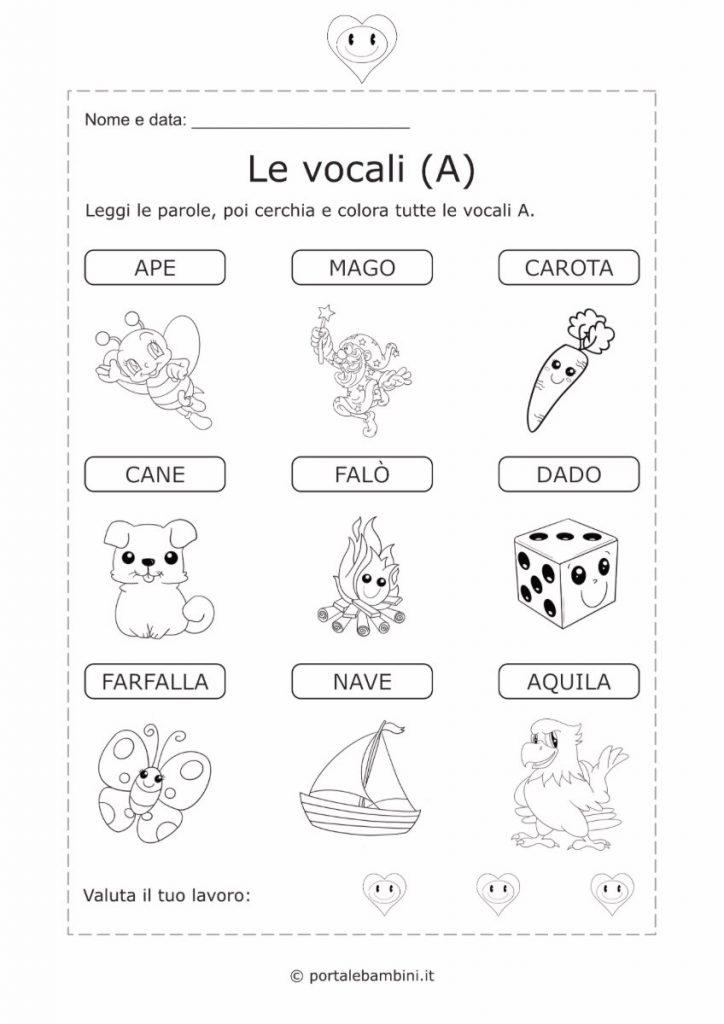 schede didattiche sulle vocali 1