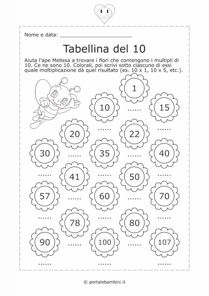tabellina del 10 schede didattiche esercizi 2