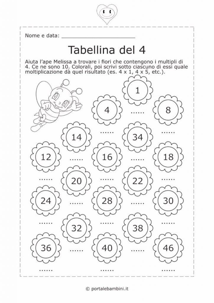 tabellina del 4 schede didattiche esercizi 2