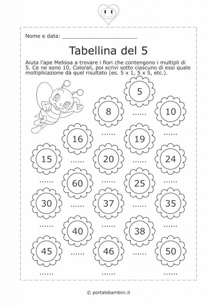 tabellina del 5 schede didattiche esercizi 2