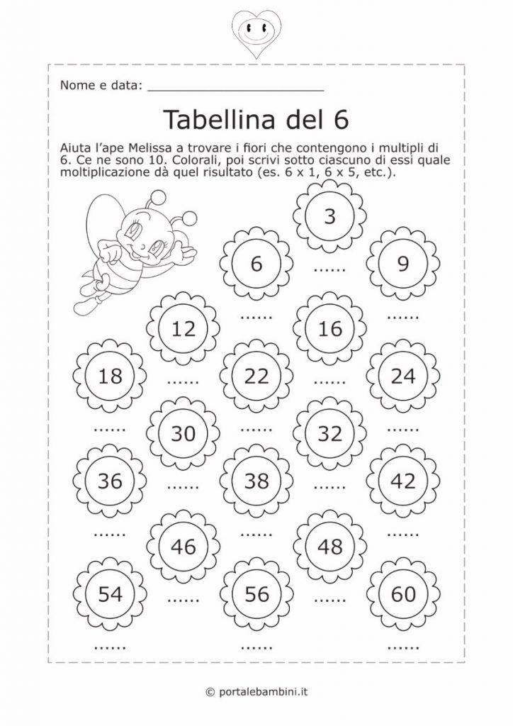 tabellina del 6 schede didattiche esercizi 2