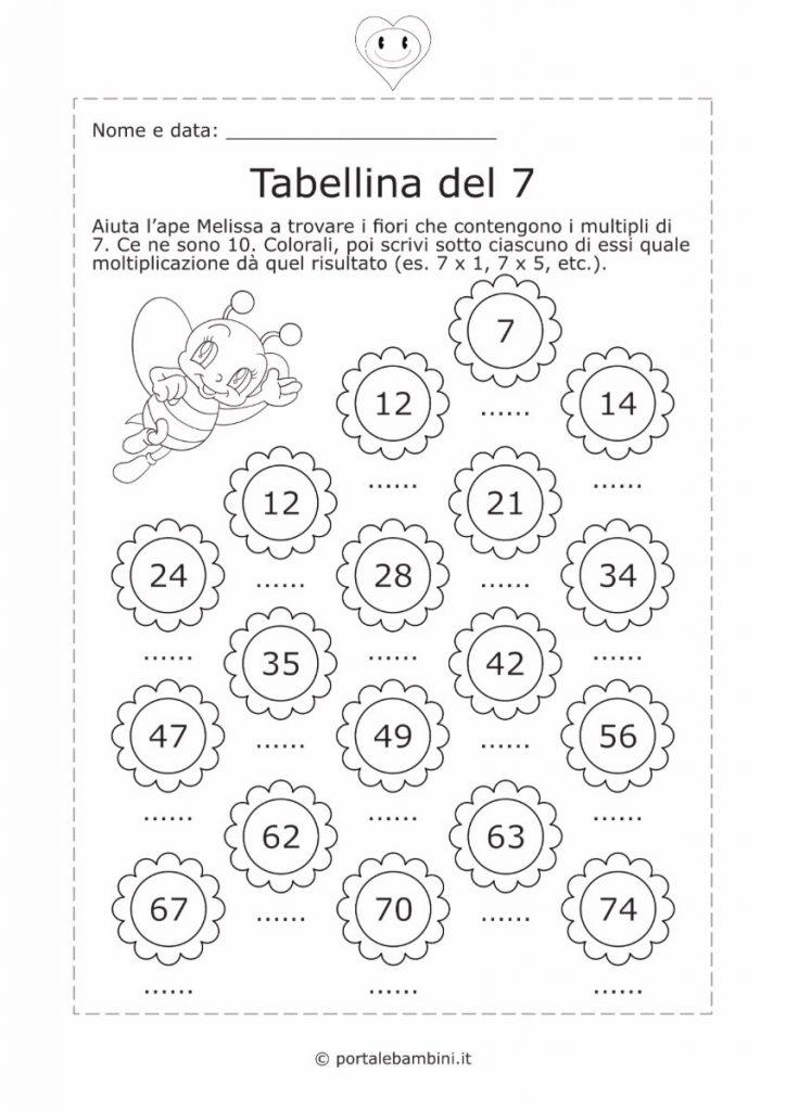 tabellina del 7 schede didattiche esercizi 2