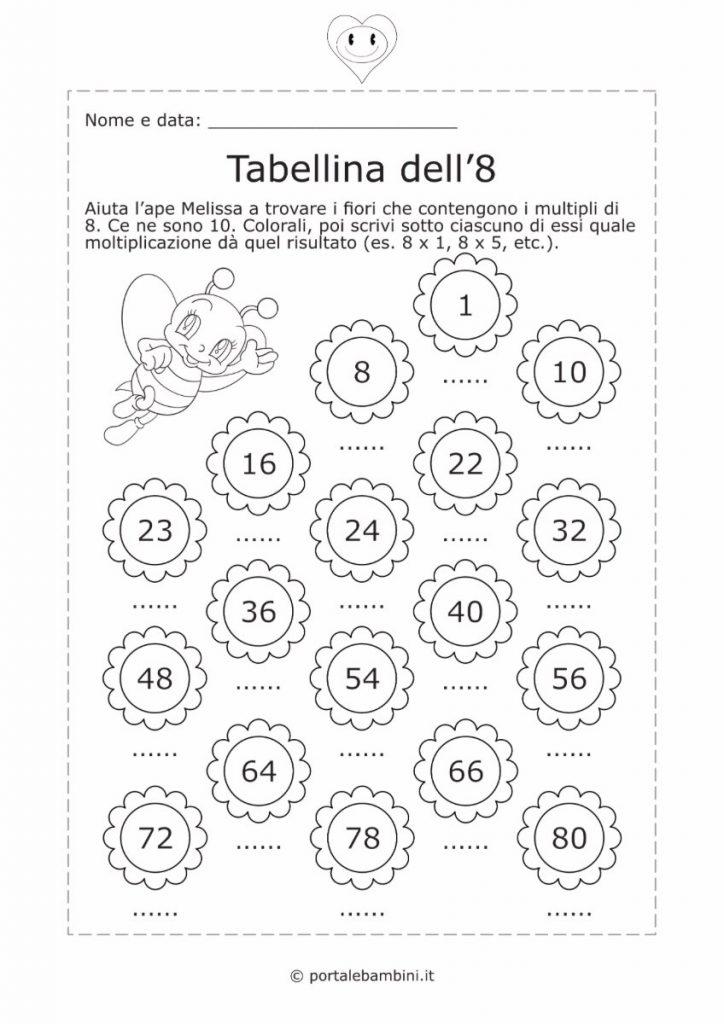 tabellina dell'8 schede didattiche esercizi 2