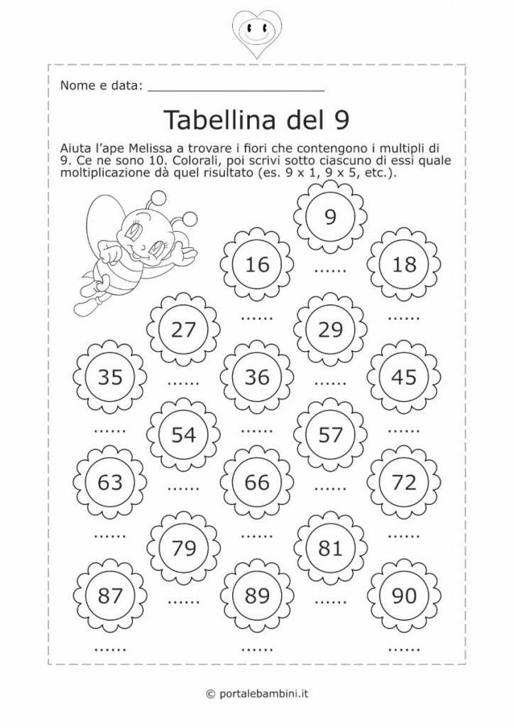 tabellina del 9 schede didattiche esercizi 2